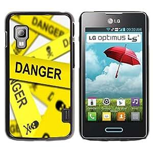 PC/Aluminum Funda Carcasa protectora para LG Optimus L5 II Dual E455 E460 Danger Line Skeleton / JUSTGO PHONE PROTECTOR