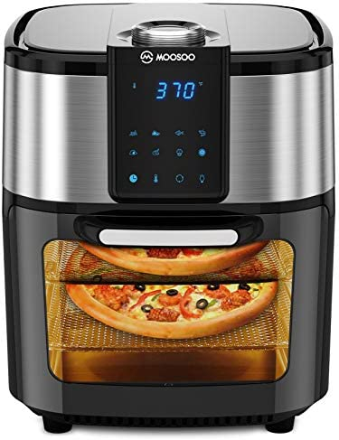 MOOSOO Air Fryer Oven, 12.7 Quart Air Fryer 1700W, 8-in-1 Oil-less Electric Air Fryer with LED Digital Touchscreen, Dehydrator, Bake, Rotisserie Oven with Time & Temperature Dial, Accessories Included (100 Recipes)