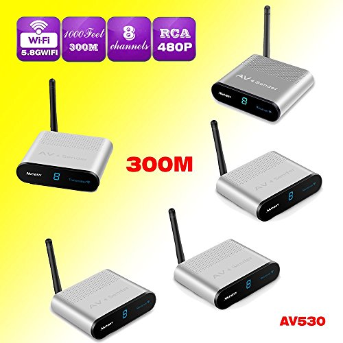 5.8GHz 8 Channel HDMI TV Wireless SD Audio Video Transmitter + 4 Receivers Supports Transmit 300m(1000feet) (5.8 Ghz Audio Video Transmitter)