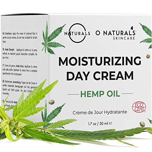 O Naturals Organic Moisturizing Hemp Oil Day Face & Neck Anti-Aging Cream. Relives Dry Itchy Cracked Skin. Prevent Signs of Aging Soothe Inflammation Collagen Boosting. Omega -3 Hyaluronic Acid. 1.7oz (Best Moisturizing Cream For Aging Skin)