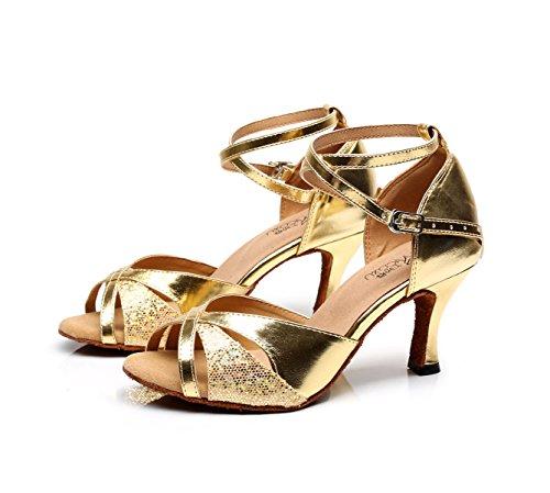 De Jazz Altos De Modern La Salsa Gold De Samba Hebilla Tango De Metal Zapatos del 5cm Correa Tacones heeled7 JSHOE De Cruzada UK4 La La Mujeres De EU35 Our36 Las Sandalias Baile Zapatos gF1ZzqwUS