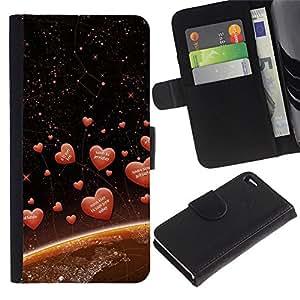 ZONECELL Imagen Frontal Negro Cuero Tarjeta Ranura Trasera Funda Carcasa Diseño Tapa Cover Skin Protectora Case Para Apple Iphone 4 / 4S - corazones del amor espaciales