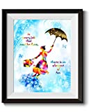 Uhomate Mary Poppins Quotes In Every Job That Must Be Done Quote Home Canvas Prints Wall Art Anniversary Gifts Baby Gift Inspirational Quotes Wall Decor Living Room Bedroom Artwork C028 (11X14)