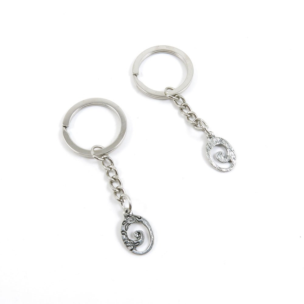 100 Pieces Keychain Door Car Key Chain Tags Keyring Ring Chain Keychain Supplies Antique Silver Tone Wholesale Bulk Lots L2DR9 Oval Flower Signs