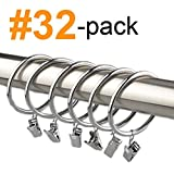 """32-pack 1 """"Metal Curtain Rings with Clips (Silver)"""
