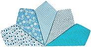 Houlife 5-10 Pieces 100% Cotton Blue Floral Printed Handkerchief Elegant Hankies for Women Ladies Girls Weddin