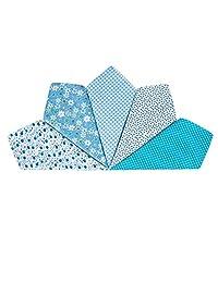 Houlife 5-10 Pieces 100% Cotton Blue Floral Printed Handkerchief Elegant Hankies for Women Ladies Girls Wedding Party