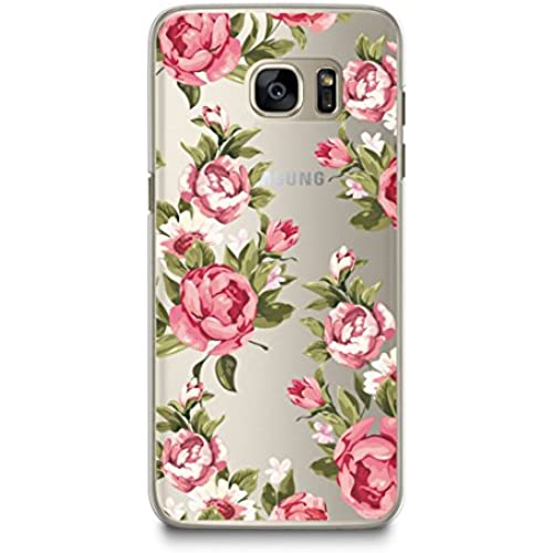 Case for Samsung S7, CasesByLorraine Red Rose Floral Pattern Matte Transparent Case Clear Plastic Hard Cover for Sales