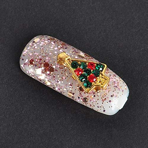 10pcs Art design Nail Tips Decoration 3D Christmas Alloy Jewelry Rhinestone Top (Type - D)