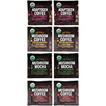 Four Sigmatic Mushroom Coffee Sampler Pack – Mocha with Chaga, Cordyceps and Chaga, Lion's Mane and Chaga, Adaptogen Coffee with Tulsi and Astragalus (8 Pack) – Organic, Vegan, Paleo