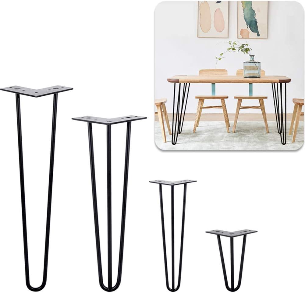 Juego de 4 patas de mesa de horquilla de alta resistencia patas de muebles de metal de bricolaje con tornillos libres y patas protectoras de 15cm a 100cm Adecuadas para cualquier proyecto