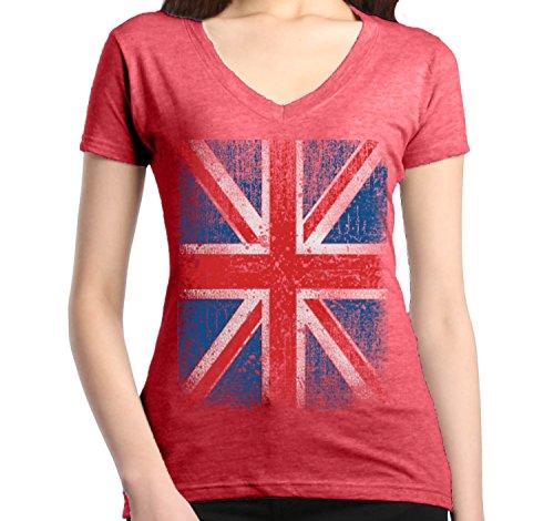 Shop4Ever Vintage Union Jack British Flag Women's V-Neck T-Shirt United Kingdom Flag Shirts Medium Heather Red13315