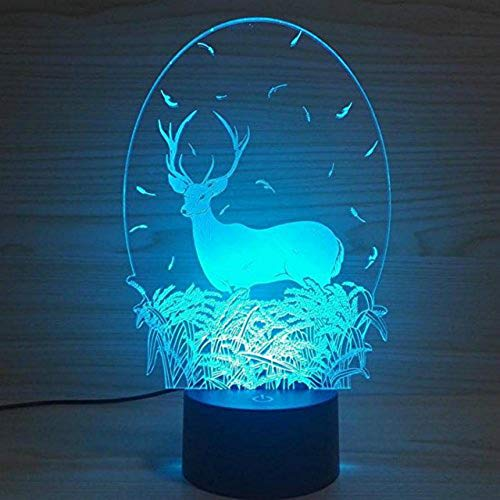 3D Deer Animal Night Light USB Touch Switch Decor Table Desk Optical Illusion Lamps 7 Color Changing Lights LED Table Lamp Xmas Home Love Brithday Children Kids Decor Toy Gift