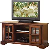 Basma TV Stand, Cherry, 2 Wooden Doors (with 1 Shelf Inside)