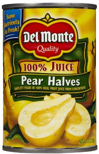 Del Monte Bartlett Pear Halves in 100% Real Fruit Juice, 15 oz, 12 pk by Del Monte