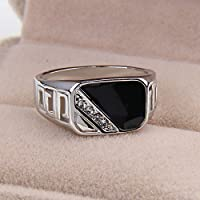 Nongkhai shop Size 8,9,10,11, Fashion Men Metal Alloy Black Onyx Silver Gemstone Wedding Ring (10)