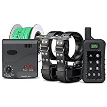 Pet Control HQ - Wireless Electric Dog Fence System, Safe Electric Pet Containment System including 2 Adjustable Waterproof Dog Shock Collars with Rechargeable Battery and Remote Control