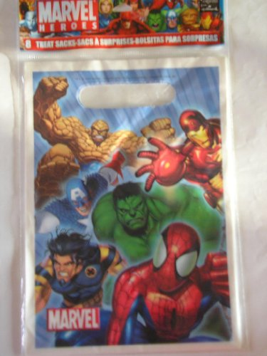 Marvel Spiderman Marvel Heroes Treat Goodie Party Bags ~ 8 Count (Spider Man Treat Bags)