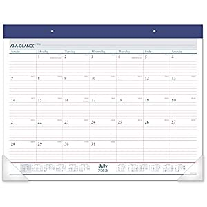 "AT-A-GLANCE 2019-2020 Academic Year Desk Pad Calendar, Standard, 21-3/4"" x 17"", Two Color (AYST2417)"