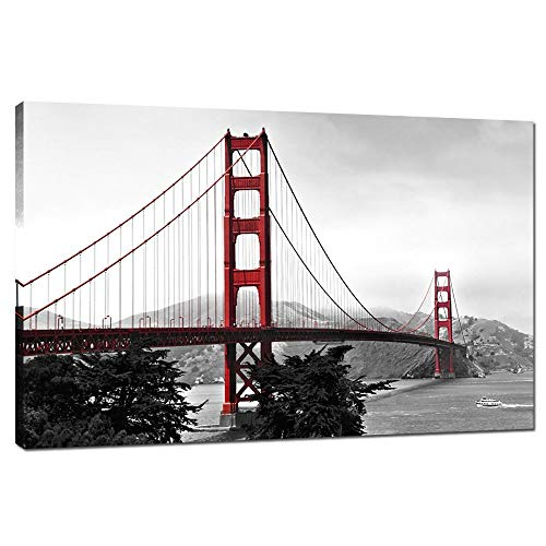 (LevvArts - Modern Home Decoration Wall Art,San Francisco Golden Gate Bridge Picture Painting on Canvas Print Stretched Wood Frame,Red Bridge Ready to Hang -24