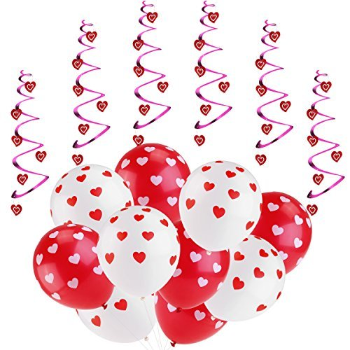 Unomor Mother's Day Decorations - Heart Balloons for Mother's Day Baby Shower Bridal Shower Wedding Birthday 20pcs Red and White Latex Heart Balloons & 6pcs Hanging Hearts Home Party Decor Supplies