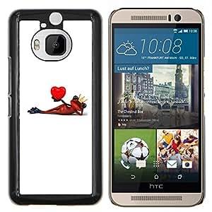 Stuss Case / Funda Carcasa protectora - Corazón del amante de la rana Minimalista Blanca - HTC One M9+ M9 Plus