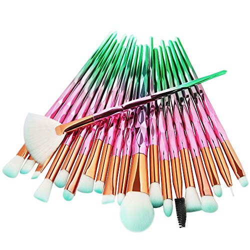 - HHmei_US_Shipment 20Pc Makeup Brushes Set Powder Foundation Eyeshadow Eyeliner Lip Cosmetic Brush - MAANGE/Ma Ange 20 Makeup Brush Set MAG 5527 Pink Green