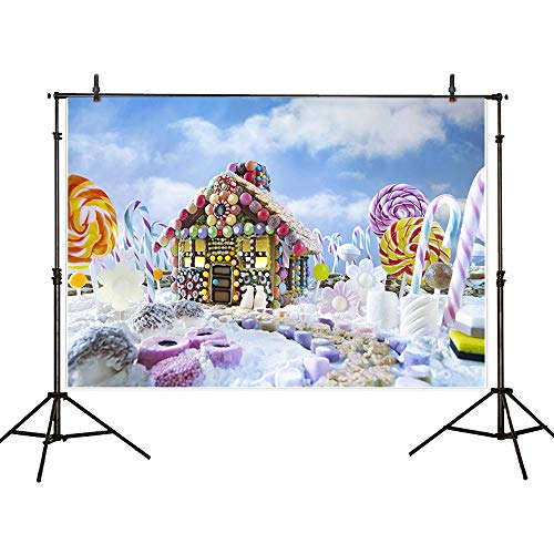 Allenjoy 7X5ft Gingerbread House Photography Photo Backdrop Background Christmas Colorful Winter Scenery Xmas New Year Forest Landscape Snow TreeDecoration for Photo Studio Shoot Prop