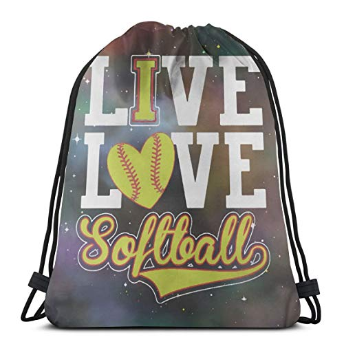 Gym Drawstring Bags Backpack Live Love Softball Sackpack Sport Tote For Travel Storage Shoe Organizer Basketball School Shoulder Bags Shopping Children ()