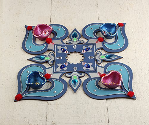 Decorative Floor Rangoli Design Paisley Motifs & Studded Stones with Set of 4 Clay Diyas Hand Painted in Blue and Pink The Purpose of Rangoli is Decoration and to Bring Goodluck