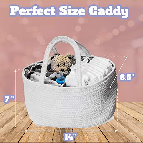 Essential Portable Holder In White and Grey Chevron Rope Storage Basket For Changing Station Organization Large Product For Dresser Top Baby Nursery Diaper Caddy Organizer By Little White Home