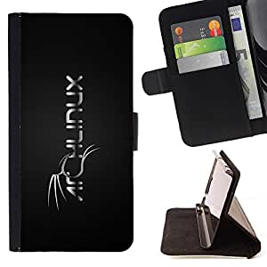 For Apple Iphone 5 / 5S cool black white Linux theme dragon Beautiful Print Wallet Leather Case Cover With Credit Card Slots And Stand Function