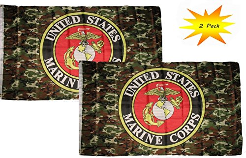 ALBATROS 3 ft x 5 ft 3x5 Set (2 Pack) USMC Marines Marine Camouflage Flag Banner for Home and Parades, Official Party, All Weather Indoors Outdoors