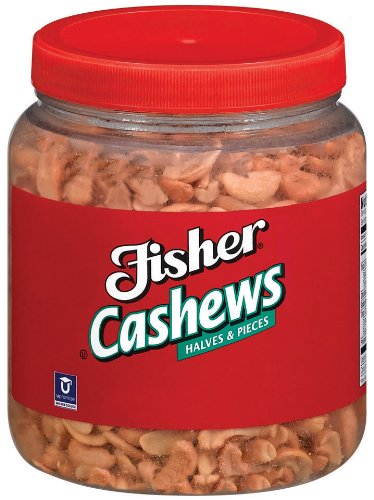 Fisher Cashew Pieces, Large, Roasted, No Salt, 35-Pound Package