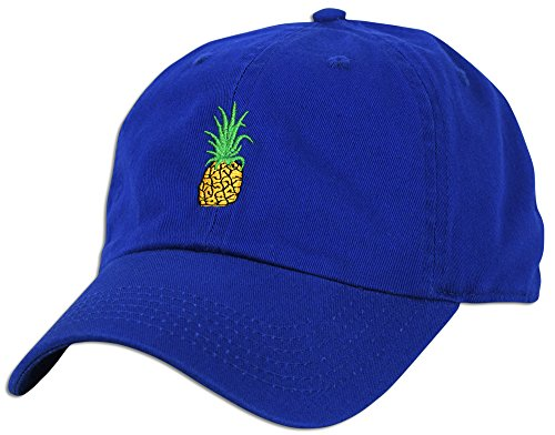 Pineapple Embroidery Dad Hat Baseball Cap Polo Style Unconstructed (Royal)