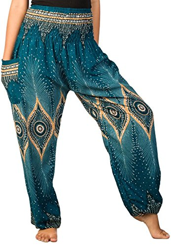 Lofbaz Women's Diamond Yoga Aladdin Genie Bohemian Harem Pants Teal Green M