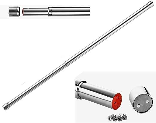 sinzau 25 mm, con enchufes de 50 a 80 cm, Acero Inoxidable de 50 a 80 cm Barra Extensible para Barra de Armario