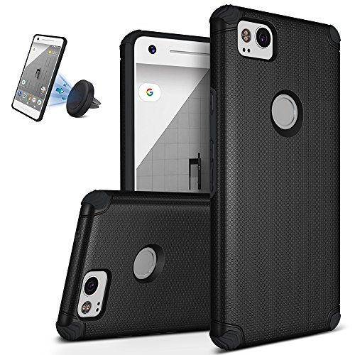 Google Pixel 2 Case, Ultra Slim Shockproof Defender Cover Anti-Slip Hard Back TPU Shell Intensive Protection Bumper Sleeve Case for Google Pixel 2 Black (Protection Intensive)