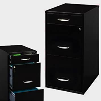 Black Metal File Cabinet with 3-Drawers Vertical Locking Filing Letter File Cabinet Shelf Flat & Amazon.com : Black Metal File Cabinet with 3-Drawers Vertical ...