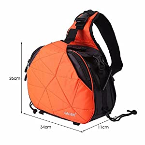 Professional SLR Camera Bag - CADEN K2 Camera Carry Case for Canon, Olympus, Sony, Pentax, Nikon DLSR wiht Tripod Holder - 300D Nylon Waterproof Anti-wear Wear Portable All-round by ABOLISS (Orange)