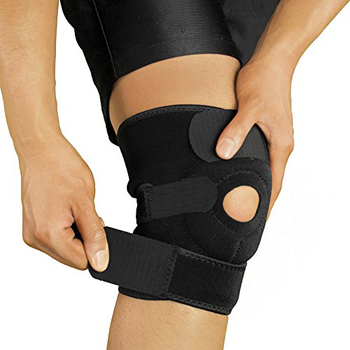 Knee Brace, Joint Pain Relief with Adjustable Strap Basketball Volleyball Running Breathable Neoprene Knee Brace Support in Black, Patella Knee Strap by Beeme