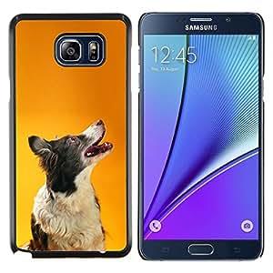 EJOOY---Cubierta de la caja de protección para la piel dura ** Samsung Galaxy Note 5 5th N9200 ** --Border collie de Orange inteligente perro canina