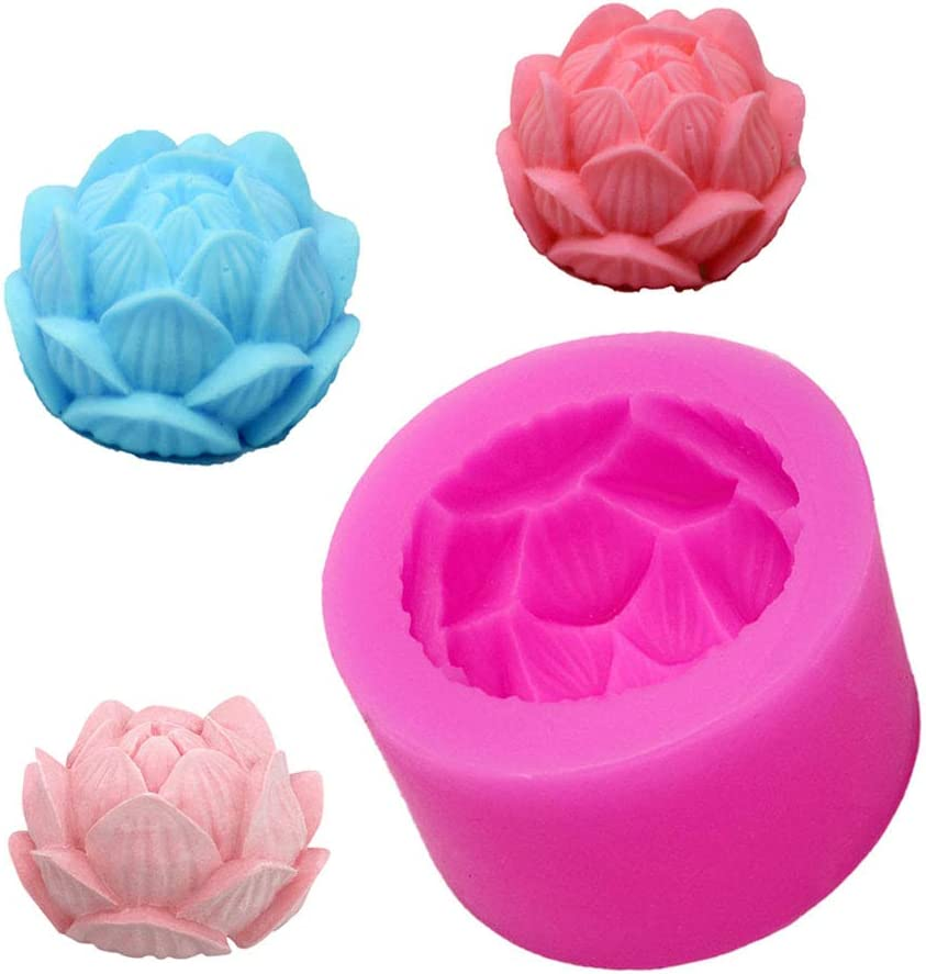 Anyasen Candle Moulds Soap Moulds 3D Flower Mold Round Silicone Molds Handmade Flowers Mold for Soap Candles Making for Wedding Party Decoration DIY Handmade Project