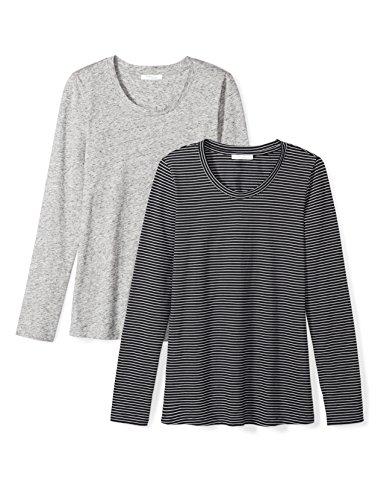 (Amazon Brand - Daily Ritual Women's Lightweight 100% Supima Cotton Long-Sleeve Crew Neck T-Shirt, Heather Grey Spacedye/Black-White Medium Stripe, XX-Large)