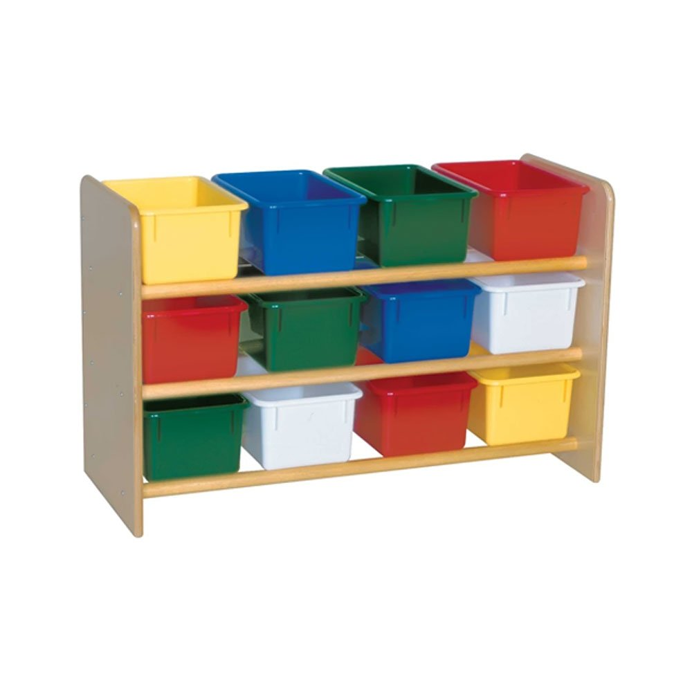 Wood Designs Kids Play Toy Book合板オーガナイザーwd13803 see-allストレージwith ( 12 ) Assortedトレイ   B005HNZM8A