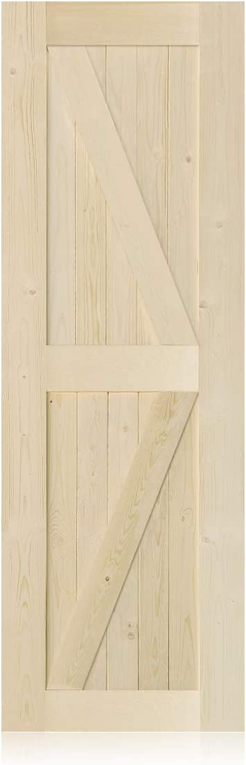 S&Z TOPHAND 28 in. x 84 in. Barn Door, 20/24/28/30/32/36/38/40/42/46in Unfinished British Brace Barn Door/Modern Style/Solid Wood/Sliding Door/A Simple Assembly is Required (28, Unfinished)