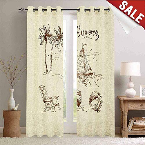 Hengshu Beach Waterproof Window Curtain Monochrome Tropical Elements Tree Boat Umbrella Wooden Chair Pattern Sketch Design Decorative Curtains for Living Room W72 x L96 Inch Beige Brown