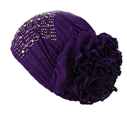 bestpriceam Womens Winter Hat Lace Butterfly Decorate Beanie Caps Lady Skullies Turban Cap (Purple 1)