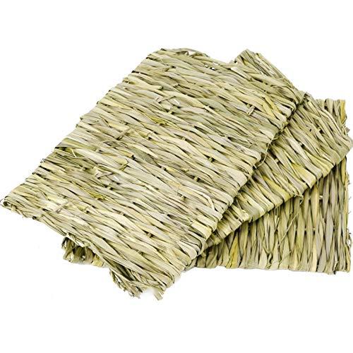 SLSON 3 Pack Woven Grass Mat, Natural Handmade Woven Grass Mat Bed Mat Chew Toys for Rabbits, Hamsters, Guinea Pigs, Hedgehog, Chinchillas