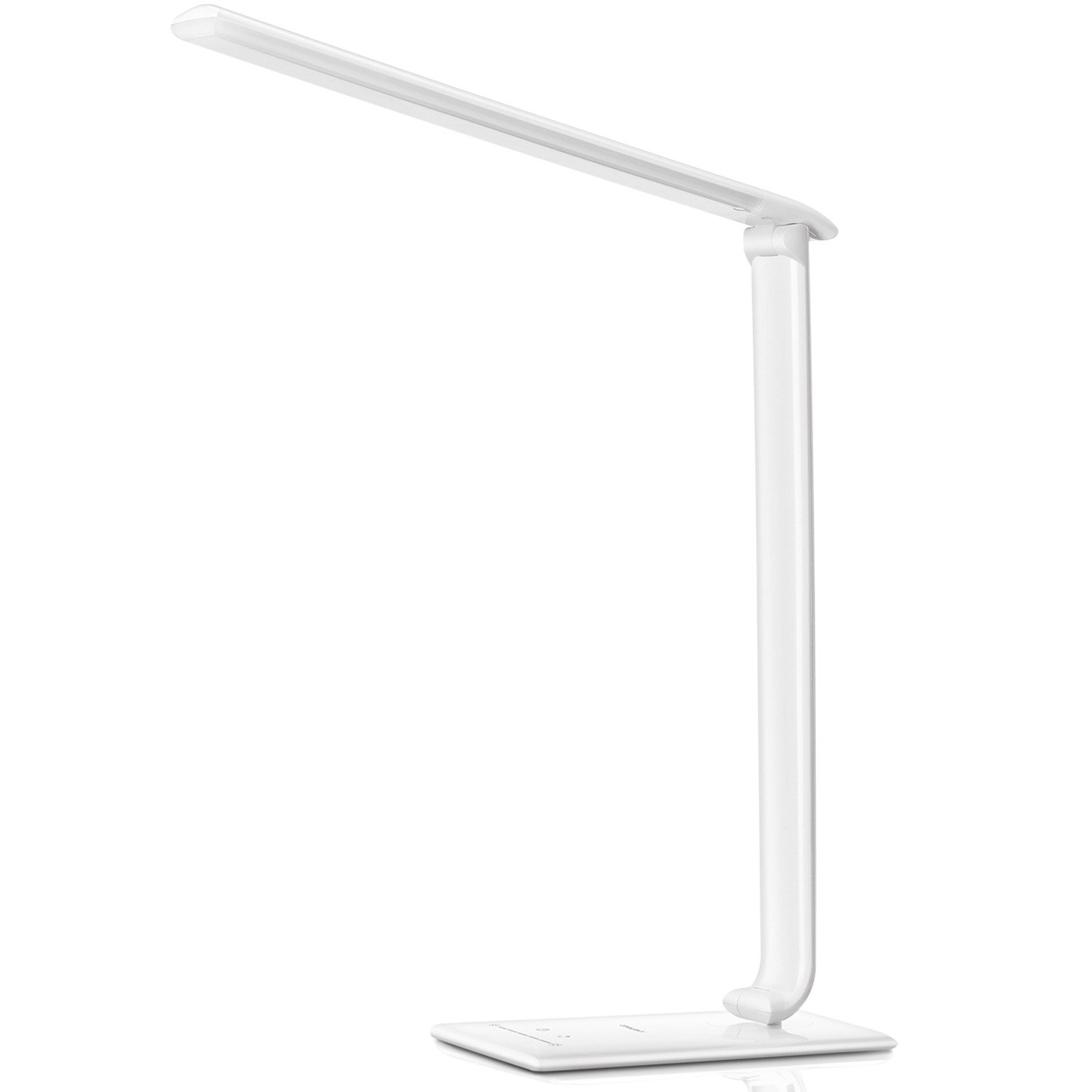 Ominilight LED Desk Lamp, Dimmable Desk Lamp with USB Charging Port, Folding Reading Lamp, 7-Level Dimmer, 5-Lighting Mode, Touch Control, for Office, Bedroom, College, Back-to-school (White)